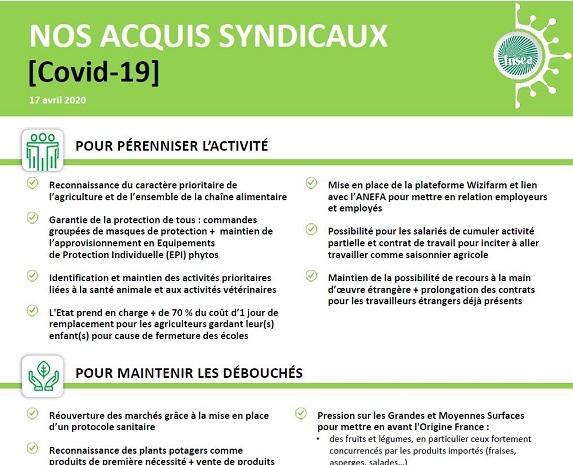[COVID-19] : les acquis de la FNSEA